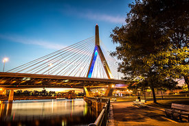 Boston Zakim Bunker Hill Bridge at Night Picture