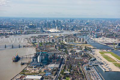 Silvertown aerial view, London Borough of Newham.