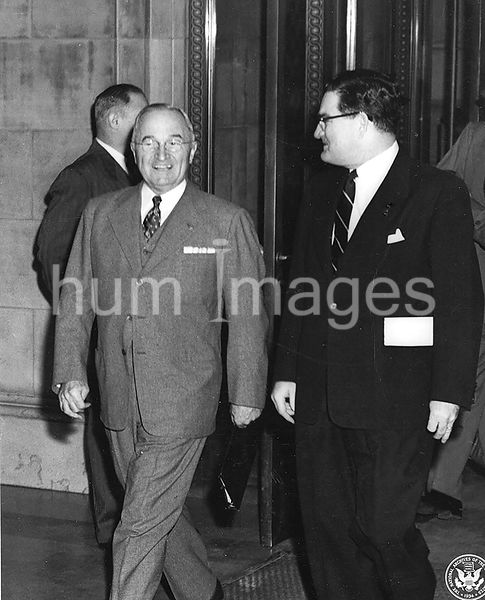 Photograph of President Harry S. Truman with Hon. Jess Larson, Administrator General Services Administration (GSA), Arriving ...