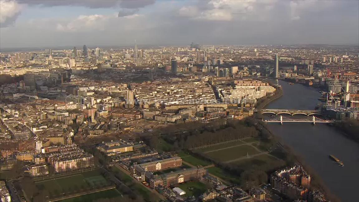 Aerial footage of Chelsea and Pimlico, London