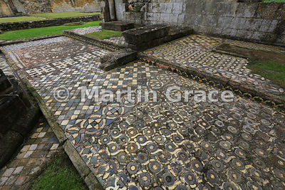 13th Century mosaic tile pavement in Byland Abbey (1155-1195), North Yorkshire, England
