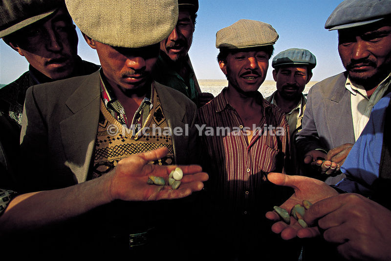 Examination and sale of jade from the bed of the river Yurungkax, near Hotan. China