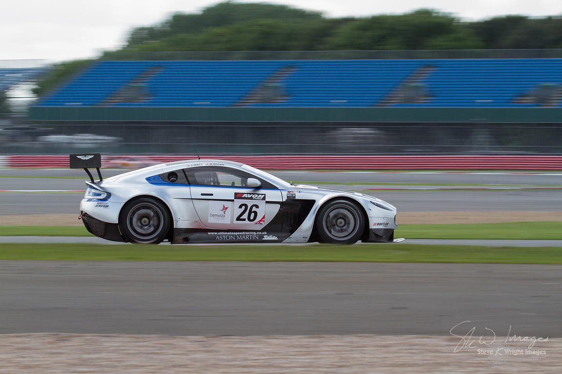 MB Racing's Aston Martin Vantage GT3 in action at the Silverstone 500 - the third round of the British GT Championship 2014 -...