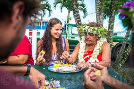 joing locals for market food, Rarotonga