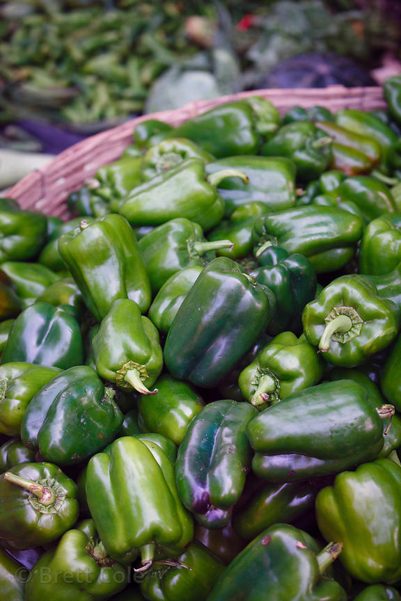 Green bell peppers for sale at Newmarket, Kolkata, India.