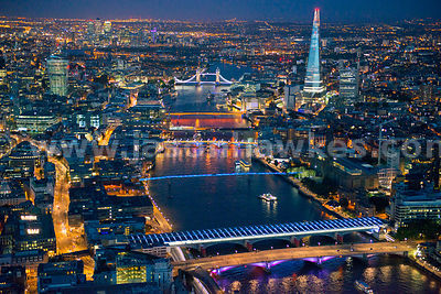 London's bridges from 1100ft. Blackfriar's in the foreground through to Tower Bridge at night, London