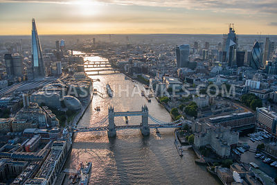 London, aerial view looking over Tower Bridge