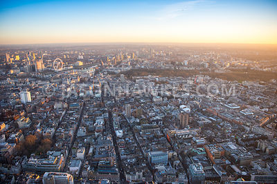 Aerial view of London, Soho, Oxford Street towards River Thames and St James Park.