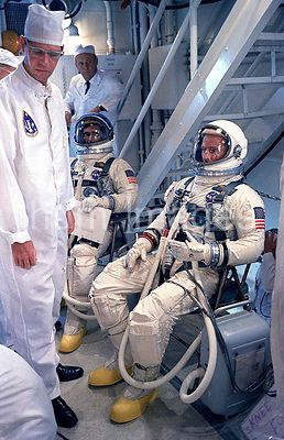 (091066) - Gemini 11 Astronauts Charles Conrad Jr., (right), command pilot, and Richard F. Gordon Jr., (left), pilot, talk wi...