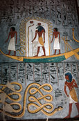 painting of the barque of Ra in the burial chamber in the tomb of Rameses I, Valley of the Kings, Luxor, Egypt
