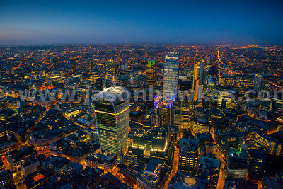 Aerial view of the City at night, London