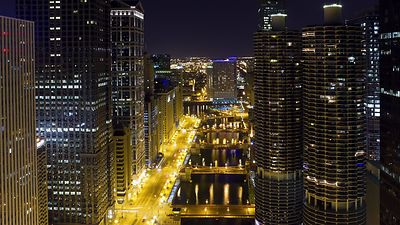 Bird's Eye: Iconic View Down Chicago River With Four Bridges & Marina Towers, Lit Up