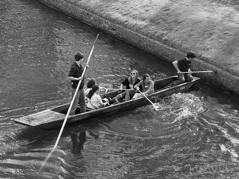 young people punting on the River Cam