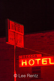 Neon Sign for the Oregon Hotel in Mitchell, Oregon