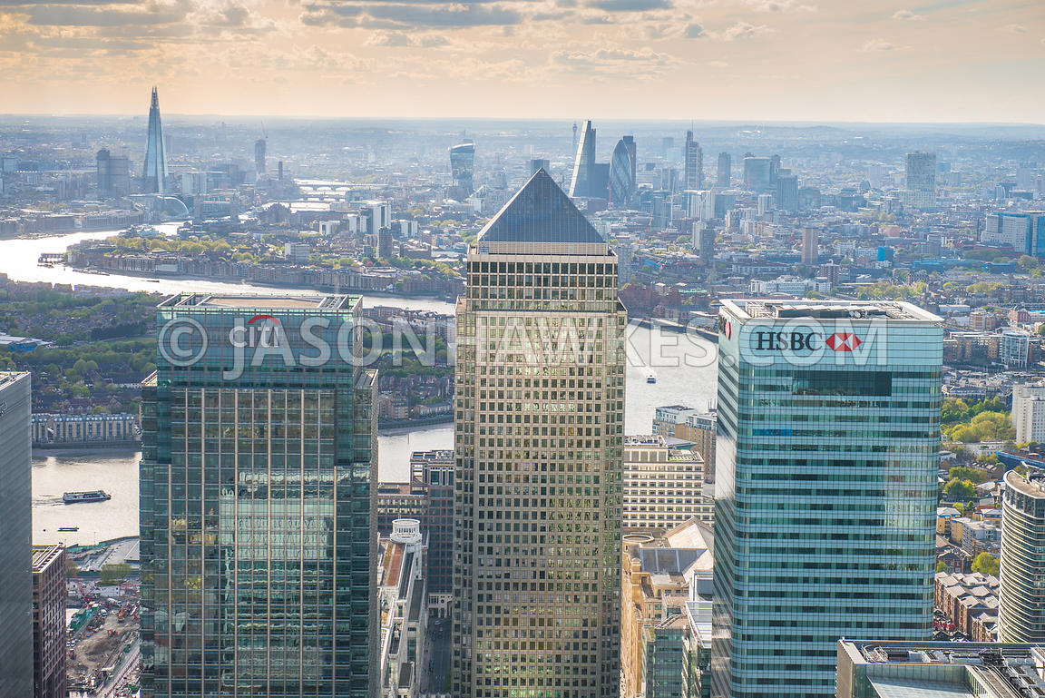 Canary Wharf, Citi and HSBC Towers, aerial view,  London