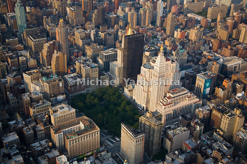 The bottom part of the photo shows the south edge of Madison Square Park, the former site of Madison Square Garden, with the ...