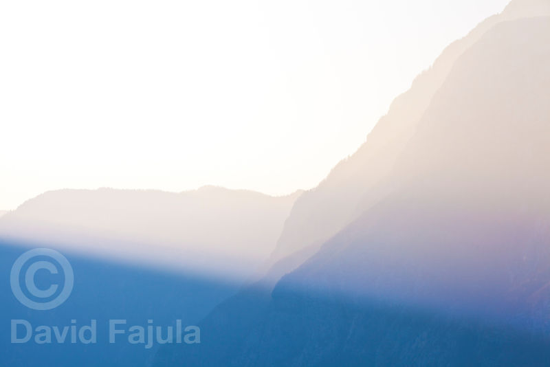 Last lights on lake Bohinj (Bohinjsko jezero) northern wall