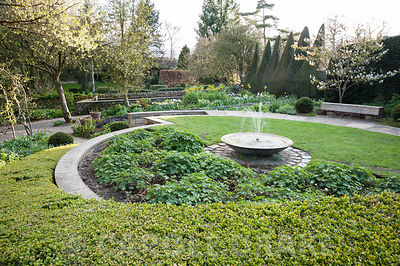 Sybil's Garden, previously site of a vegetable patch, redesigned by Alistair Baldwin in 2005, based on a series of circles, i...