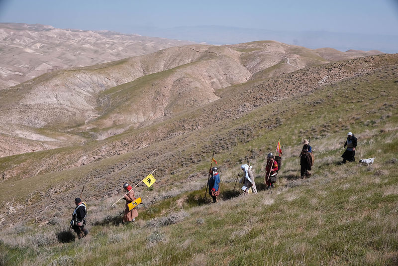 Israeli enthusiasts walk in the Jordan valley near Jericho as they take part in a three day walk between the West Bank city o...