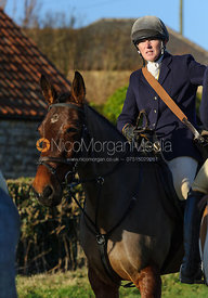 Hunt Secretary Caroline Stewart at the meet - The Belvoir Hunt at Stonesby, 19/12