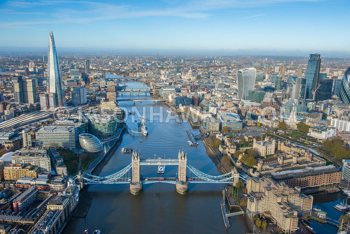 Aerial view Tower Bridge, City of LOndon, River Thames.