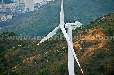 Aerial view of Wind Turbine, Hong Kong