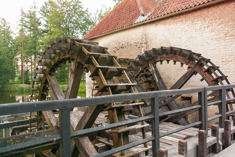 The water wheels of the watermill on Singraven estate, Twente