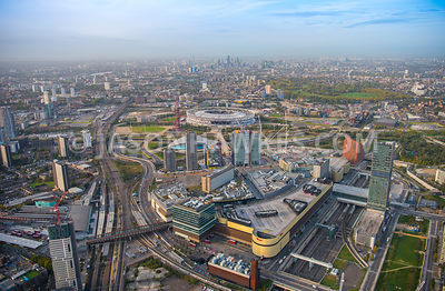Aerial view of London, Stratford with Olympic Stadium towards City of London.