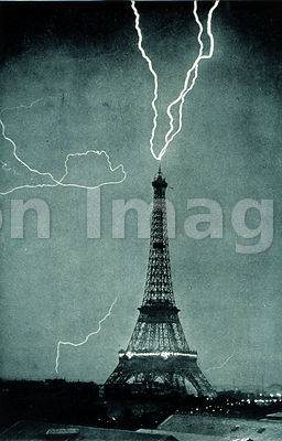Lightning striking the Eiffel Tower, June 3, 1902