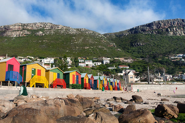Colorful bath houses, Kalk Bay, South Africa