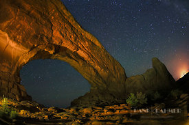 Erosion landscape and star sky at Northern Window - North America, USA, Utah, Grand, Arches National Park, Windows Section, N...