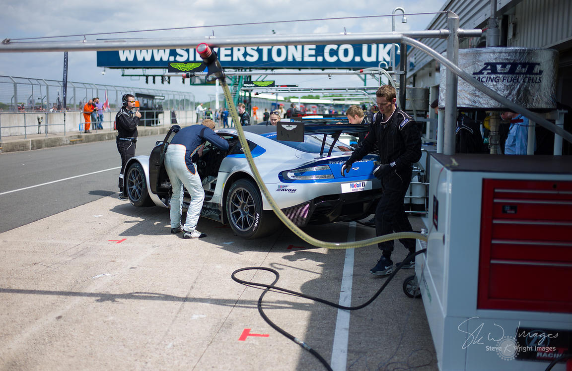 MB Racing's Aston Martin Vantage GT3 in the pits, pre-race, at the Silverstone 500 - the third round of the British GT Champi...