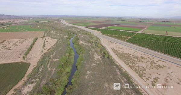 Colorado River Drone Video Yuma County Arizona US Mexico Border
