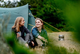 Two girls camping in Denmark 2