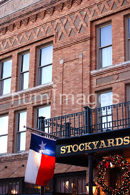 Flag in front of hotel in Ft. Worth Stockyards in Texas