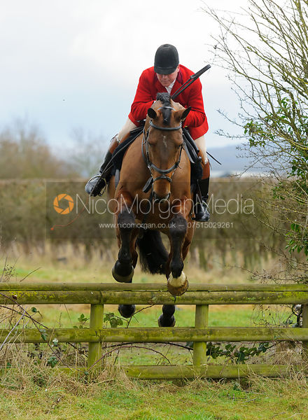 John Holliday jumping a hunt jump - The Belvoir Hunt at Harby 28/1