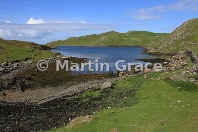 Looking west to the Atlantic Ocean at Mavis Grind, Shetland