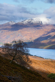 The summit of Slioch over Loch Maree in the Scottish Highlands, Scotland, UK.