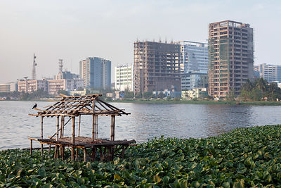 An abandonded fishing hut on the edge of the East Kolkata Wetlands, Kolkata, India. In the distance is the planned satellite city of Salt Lake City.