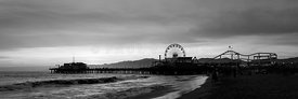 Santa Monica Pier Black and White Panorama Photo