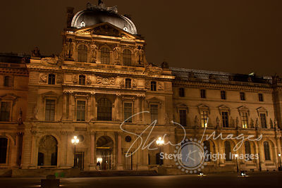 Sully Wing of the Louvre Museum at Night - Paris, France