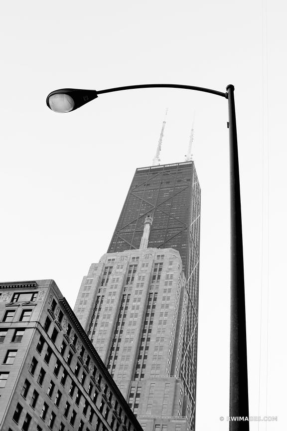 JOHN HANCOCK TOWER CHICAGO DOWNTOWN ARCHITECTURE BLACK AND WHITE