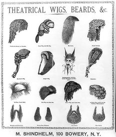Illustration shows costume wigs and beards manufactured by Michael Shindhelm for use in theatrical productions. 1870-1880