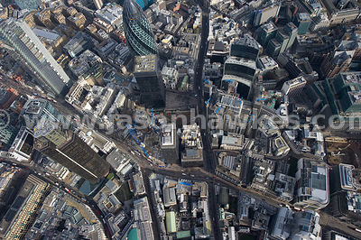 Direct aerial view over Leadenhall St, City of London.