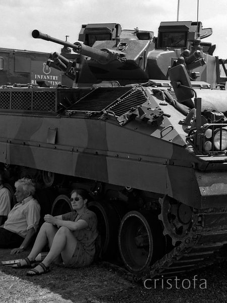 in the shade of a tank at Culdrose Air Day