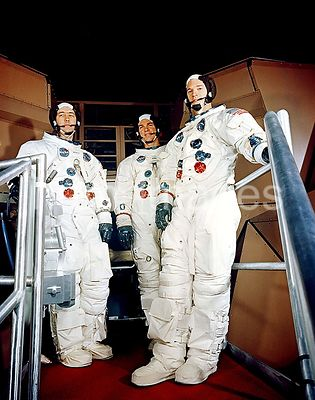 17 Feb. 1969 - Apollo 9 crew is shown suited up for a simulated flight in the Apollo Mission Simulator at the Kennedy Space C...