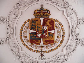 The Coat of arms of Denmark is located on the ceiling of the Long Hall
