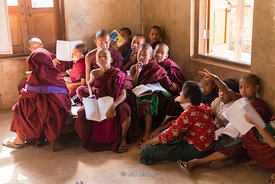 Novice monks in a classroom at Htet Eain Cave Monastic Education Schools near Nyaungshwe in Myanmar.