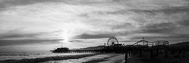 Santa Monica Pier Sunset Black and White Panorama Photo