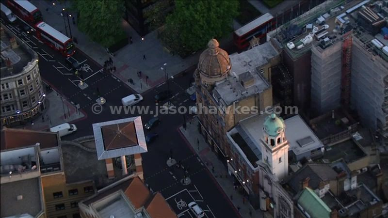Aerial footage of the Angel intersection, London